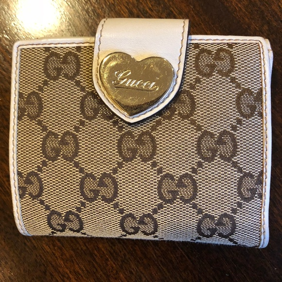3c0e11ed2bf0 Gucci Handbags - Gucci Canvas & White Leather Heart French Wallet